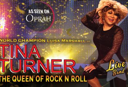 Luisa Marshall as Tina Turner at Kelowna Community Theatre